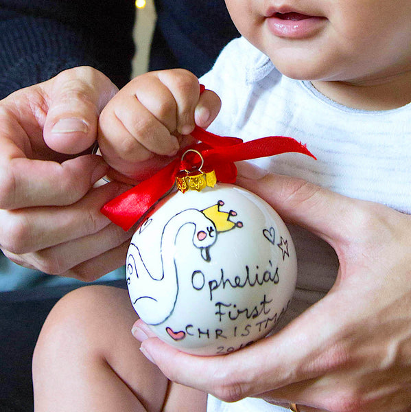 Personalised Christmas Bauble with Christmas Swan