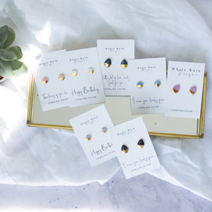 Personalised birth flower and earrings with Mothers Day earring card gift set