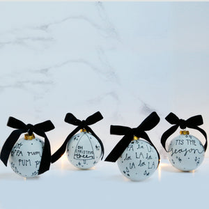 Set of 4 Modern Monochrome Ceramic Baubles with Christmas Carol Lyrics