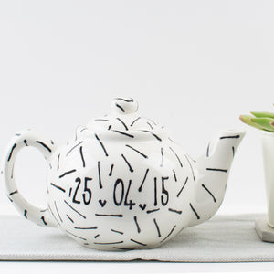 Modern, Monochrome Personalised Mr and Mrs Teapot