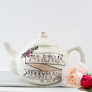 Personalised Mr and Mrs Banner with flowers Teapot