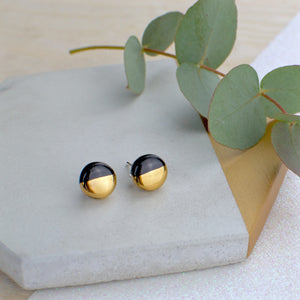 Black Circle Ceramic Earrings with Sterling Silver backs