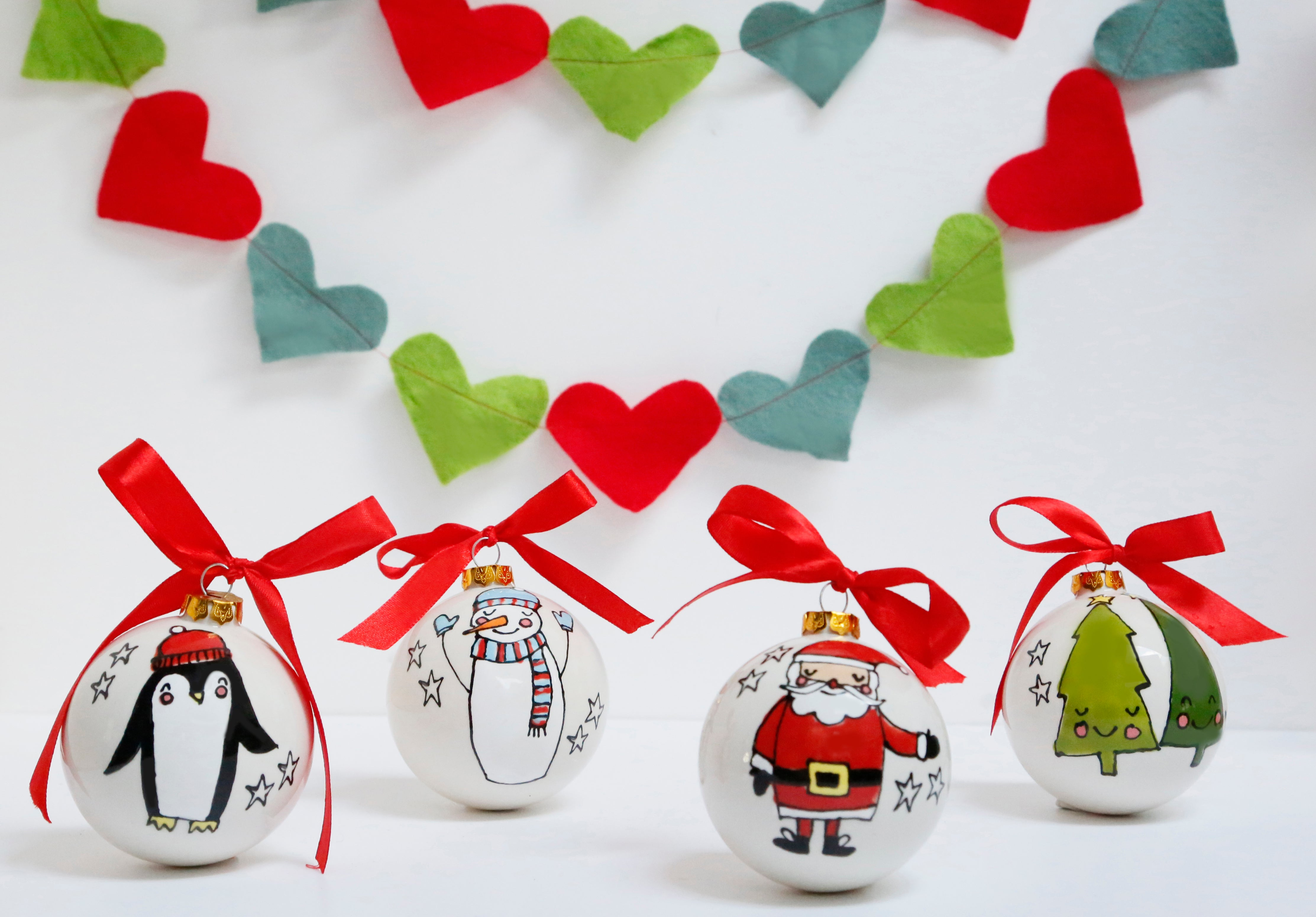 Set of 4 Cute Christmas Characters Ceramic Baubles