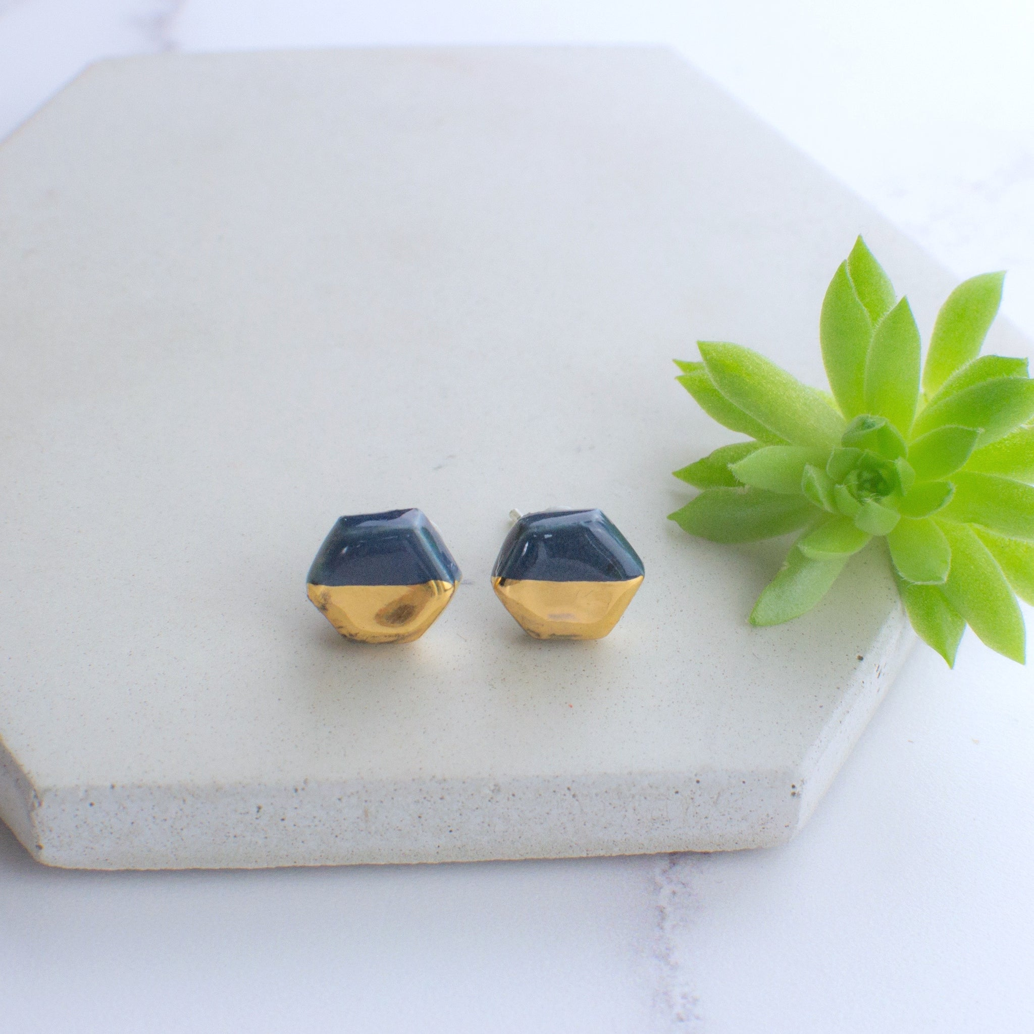 Dark Blue Hexagon Ceramic Earrings with Sterling Silver backs