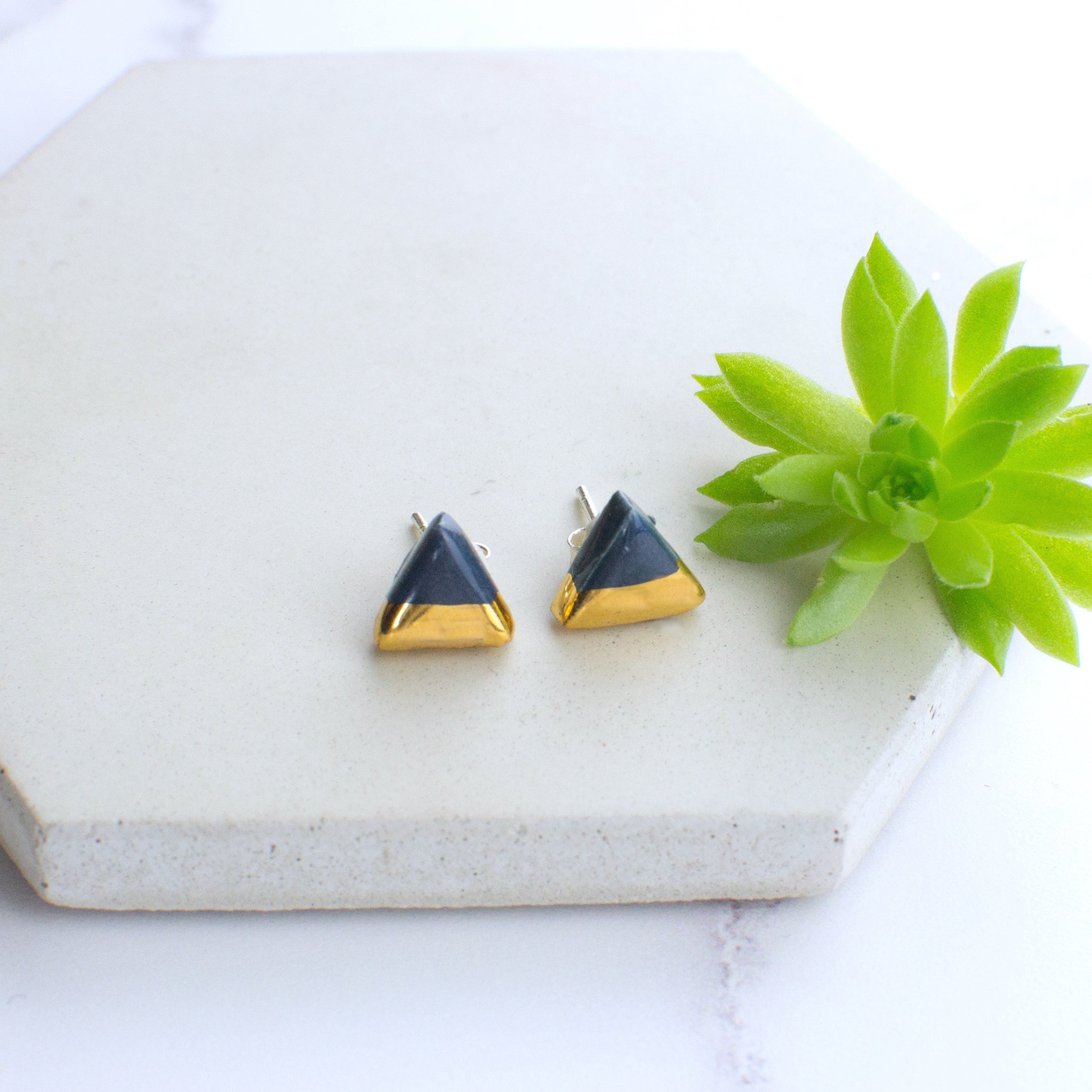 Dark Blue Triangle Ceramic Earrings with Sterling Silver backs