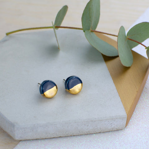Dark Blue Circle Ceramic Earrings with Sterling Silver backs