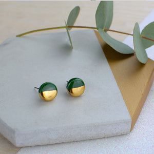 Dark Green Circle Ceramic Earrings with Sterling Silver backs