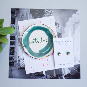 Personalised Watercolour style trinket dish and earrings Gift set