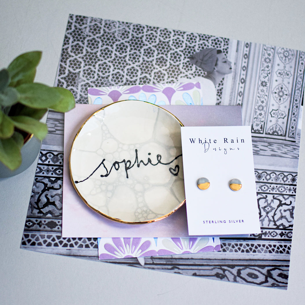 Marble style personalised jewellery dish with ceramic earrings gift set