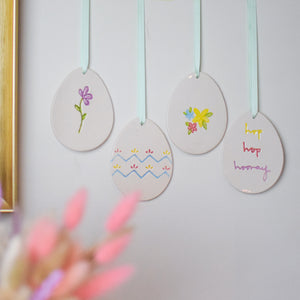 Set of 4 Easter Egg Ceramic decorations