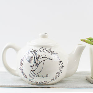 Monochrome Personalised Mr and Mrs Teapot with Simple Feather Wreath