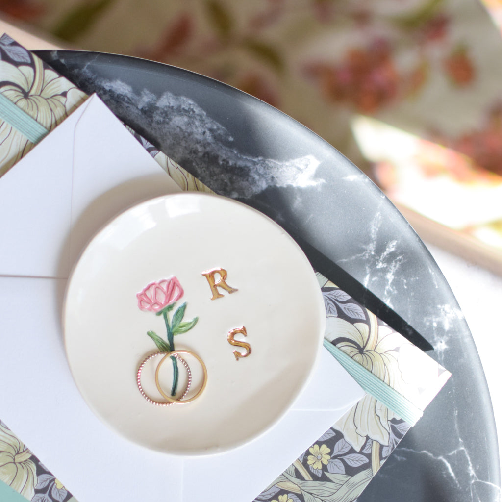 Trinket dish personalised with Initials and Botanical Design