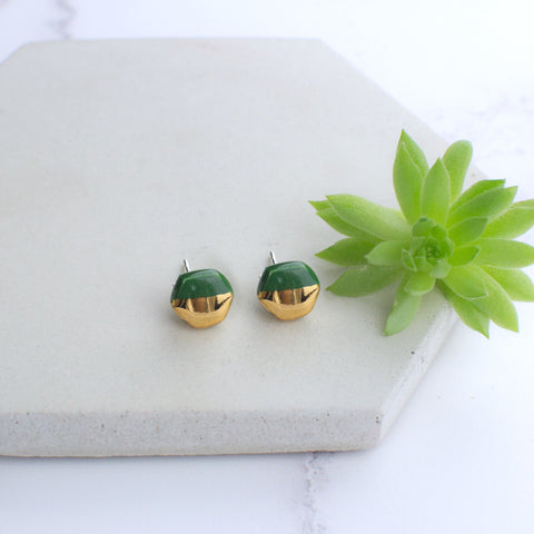 Dark Green Mini Hexagon Ceramic Earrings with Sterling Silver backs