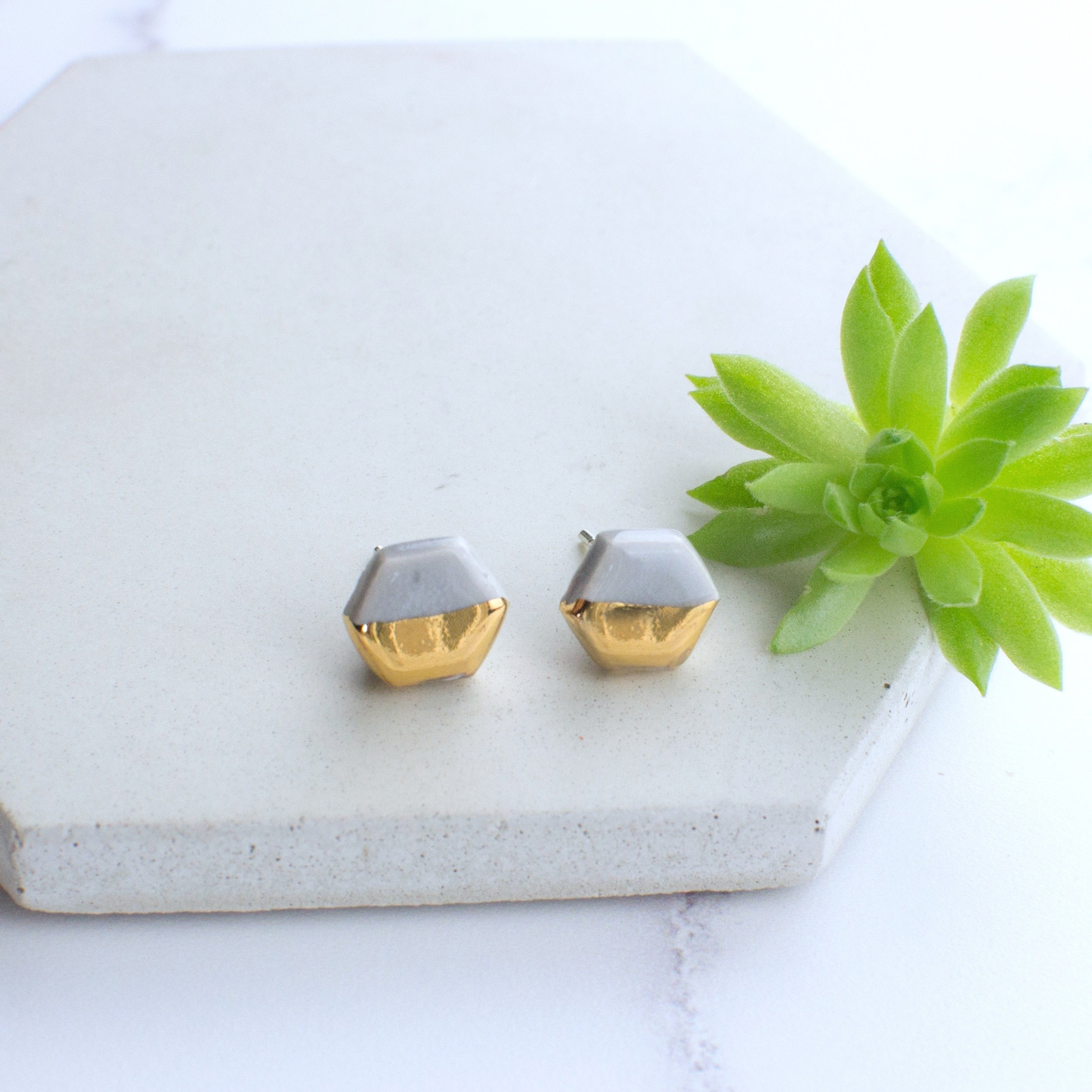 Grey Hexagon Ceramic Earrings with Sterling Silver backs
