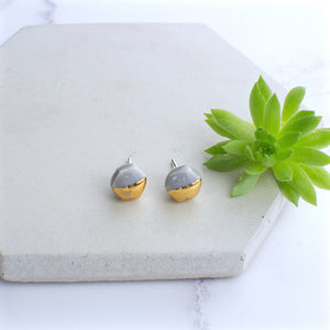 Grey Mini Hexagon Ceramic Earrings with Sterling Silver backs