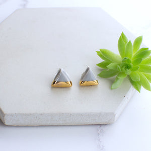 Grey Triangle Ceramic Earrings with Sterling Silver backs