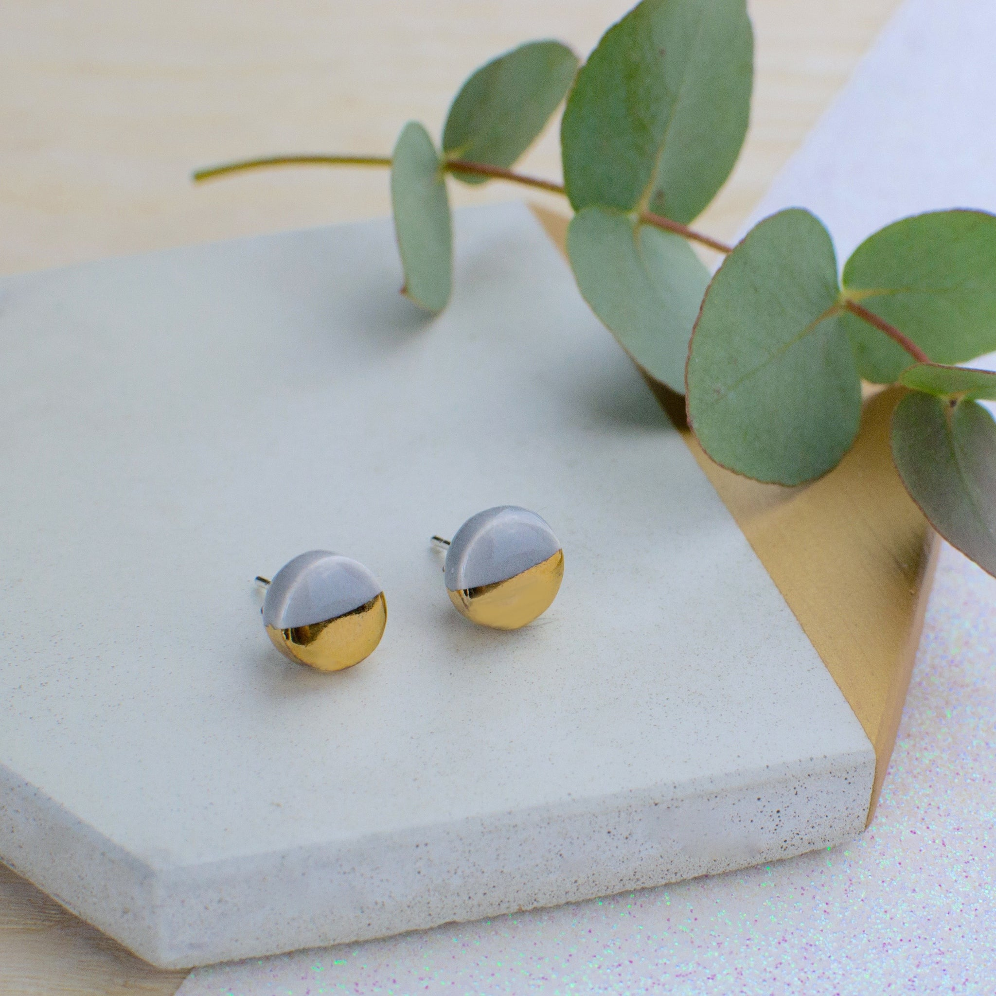 Grey Circle Ceramic Earrings with Sterling Silver backs