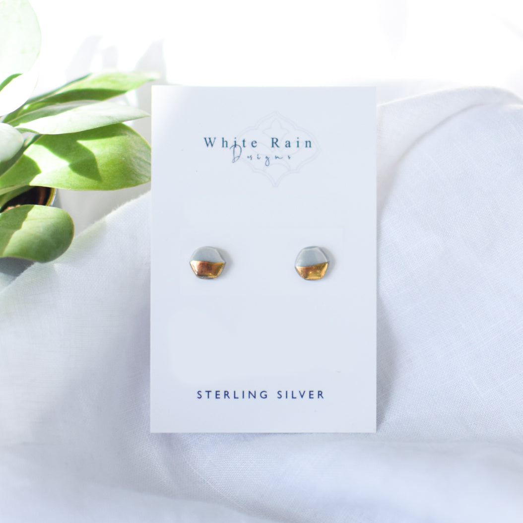 Hexagon shaped Ceramic Stud Earrings with Sterling Silver backs (Choice of colours)