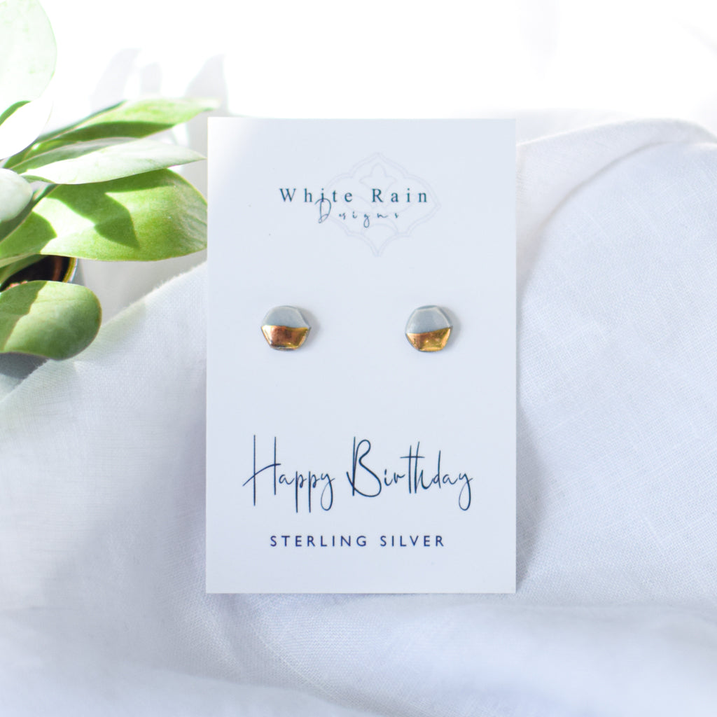 Happy Birthday Ceramic Earrings with sterling silver earring backs