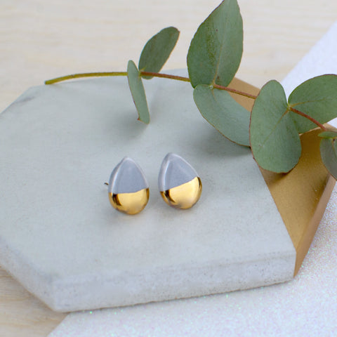 Grey Teardrop Ceramic Earrings with Sterling Silver backs