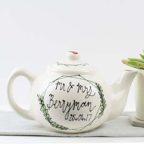 Modern hexagonal wreath Personalised Mr and Mrs Teapot