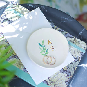 Earrings and  personalised initials trinket dish set