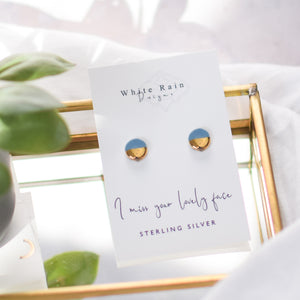 'I miss your lovely face' Ceramic Earrings with sterling silver earring backs