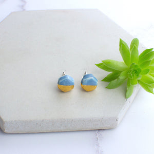 Light Blue Mini Hexagon Ceramic Earrings with Sterling Silver backs