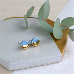 Light Blue Circle Ceramic Earrings with Sterling Silver backs