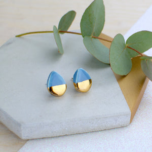 Light Blue Teardrop Ceramic Earrings with Sterling Silver backs