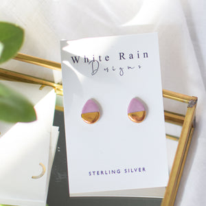 Teardrop Ceramic Stud Earrings with Sterling Silver backs (Choice of colours)