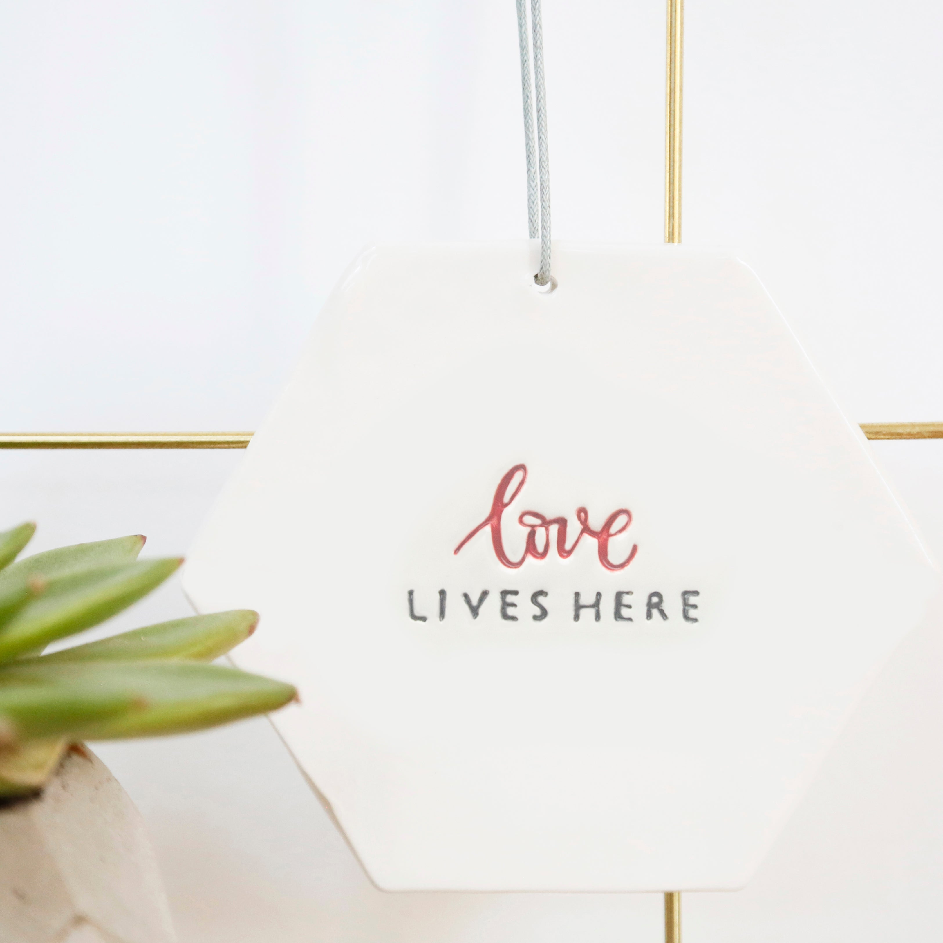 Love Lives Here Hexagon hanging decoration