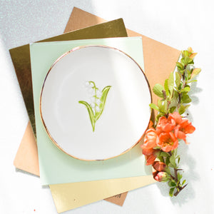 May Birth Flower Lily of the Valley trinket dish with ceramic earrings gift set