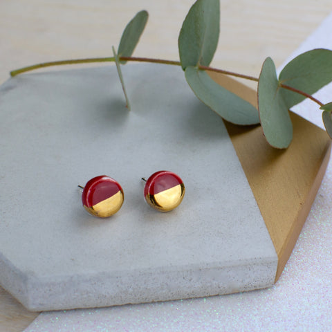 Maroon Circle Ceramic Earrings with Sterling Silver backs