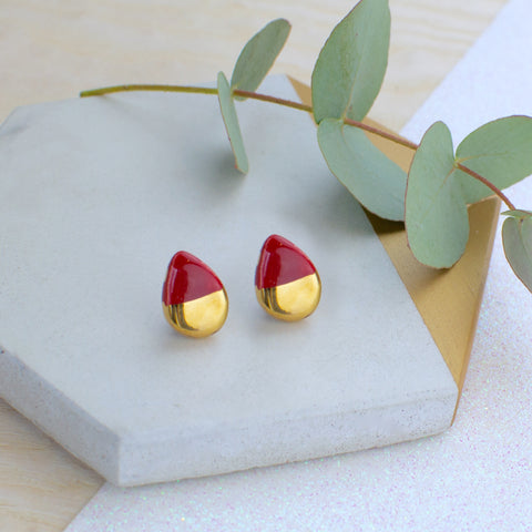 Maroon Teardrop Ceramic Earrings with Sterling Silver backs
