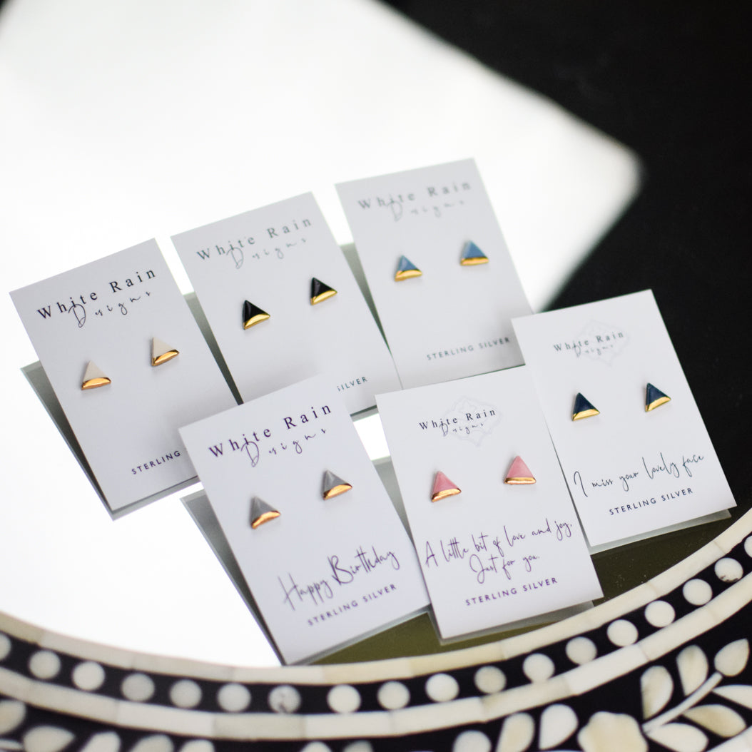Triangle Ceramic Stud Earrings with Sterling Silver backs (Choice of colours)