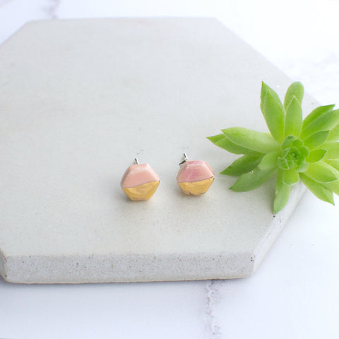 Peach Mini Hexagon Ceramic Earrings with Sterling Silver backs