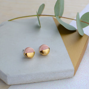 Peach Circle Ceramic Earrings with Sterling Silver backs