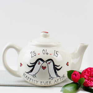 Cute Penguins in Love Personalised Mr and Mrs Teapot