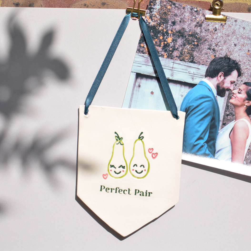 Cute illustrated 'Perfect Pair' hanging decoration