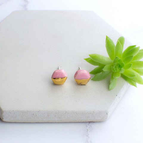Light Pink Mini Hexagon Ceramic Earrings with Sterling Silver backs