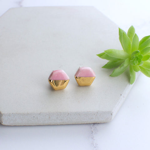 Light Pink Hexagon Ceramic Earrings with Sterling Silver backs