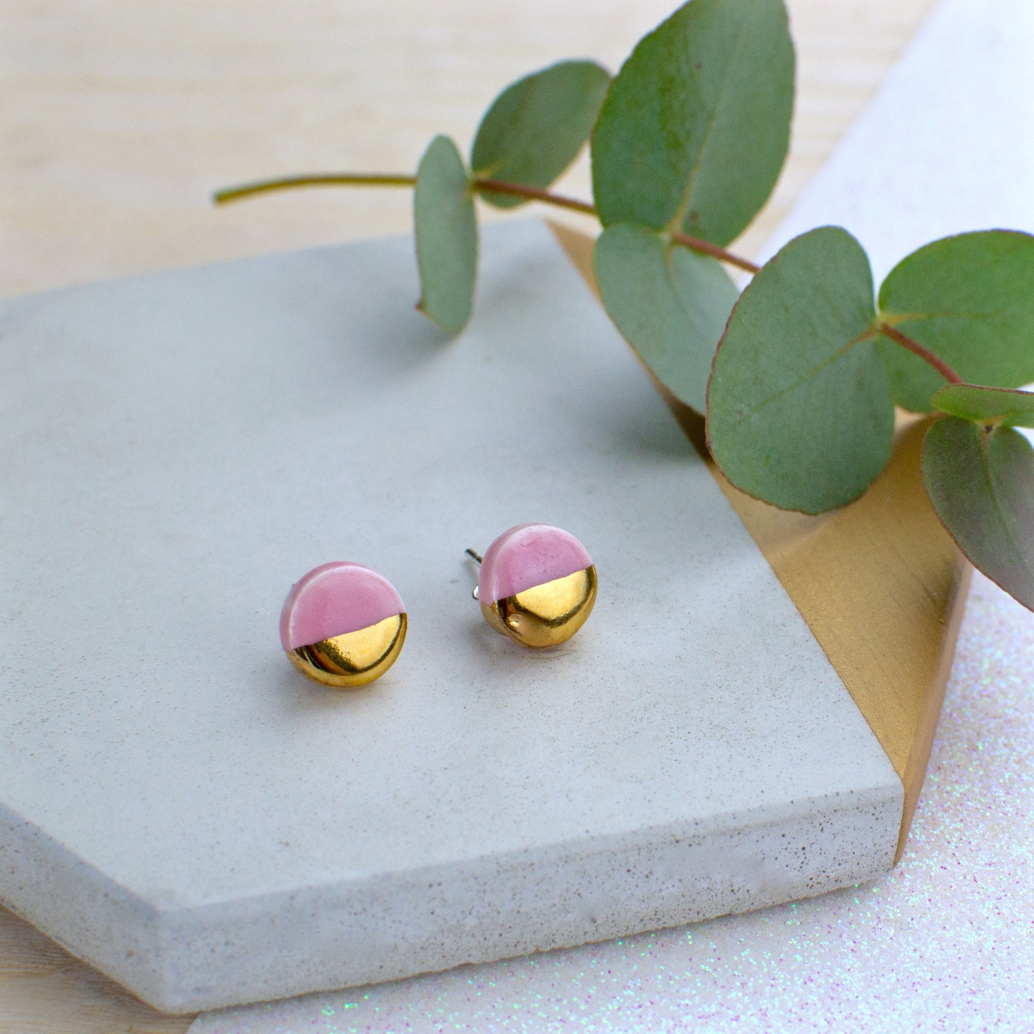 Light Pink Circle Ceramic Earrings with Sterling Silver backs