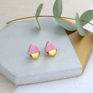 Light Pink Teardrop Ceramic Earrings with Sterling Silver backs