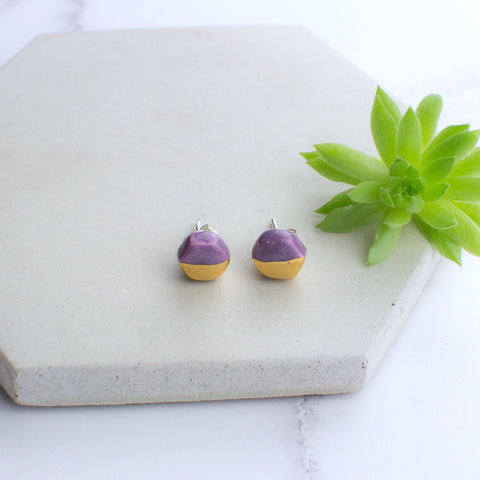 Purple Hexagon Ceramic Earrings with Sterling Silver backs