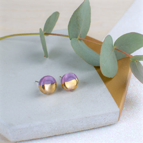 Purple Circle Ceramic Earrings with Sterling Silver backs