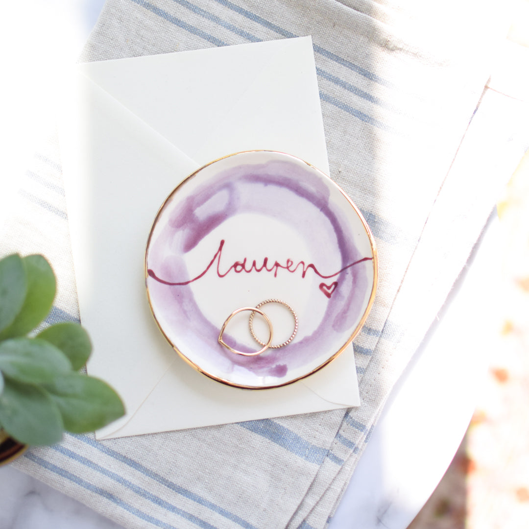 Earrings and Watercolour style personalised trinket dish set