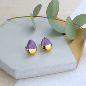 Purple Teardrop Ceramic Earrings with Sterling Silver backs