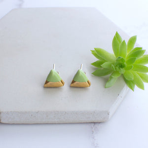 Turquoise Triangle Ceramic Earrings with Sterling Silver backs