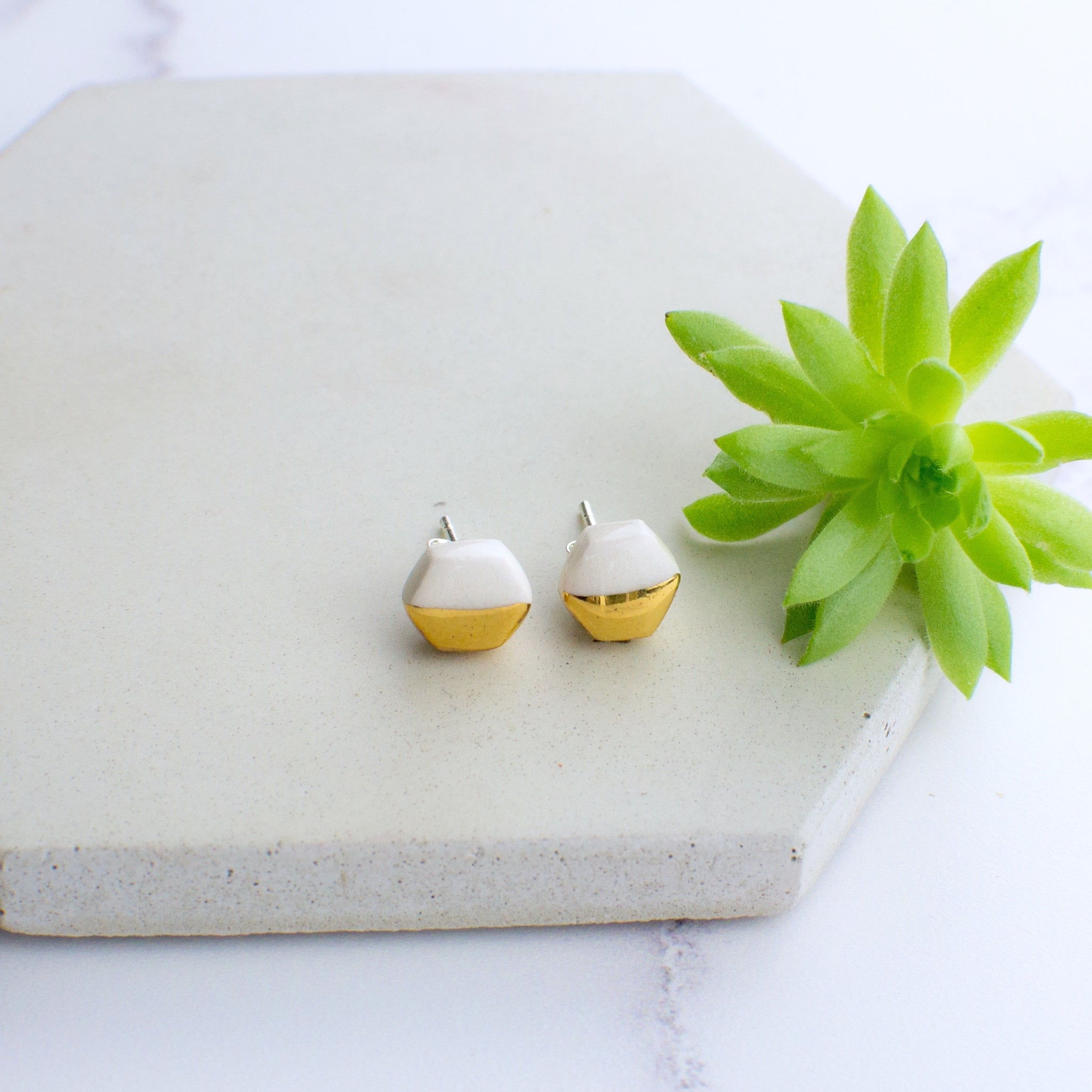 White Mini Hexagon Ceramic Earrings with Sterling Silver backs